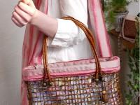 之後び手提包&絲綢圍巾安排粉紅色[努力吧!]岩手】